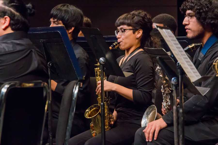 Members of the CSUB Concert Band perform arrangments in the Doré Theatre on Nov. 13. Photo by Scot Swan/The Runner