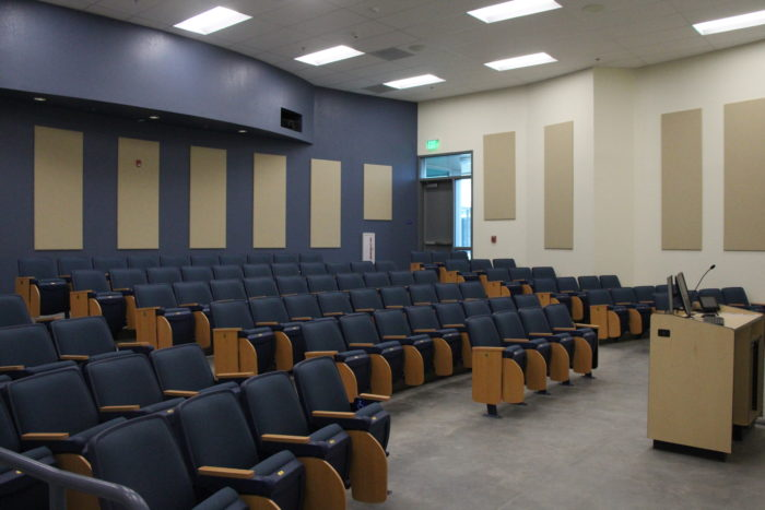 HUM 1109 features auditorium seating, two large projector screens and seats up to 110 students. The rooms will open for classes this spring semester.  Photo By Peter Castillo/ The Runner Classroom