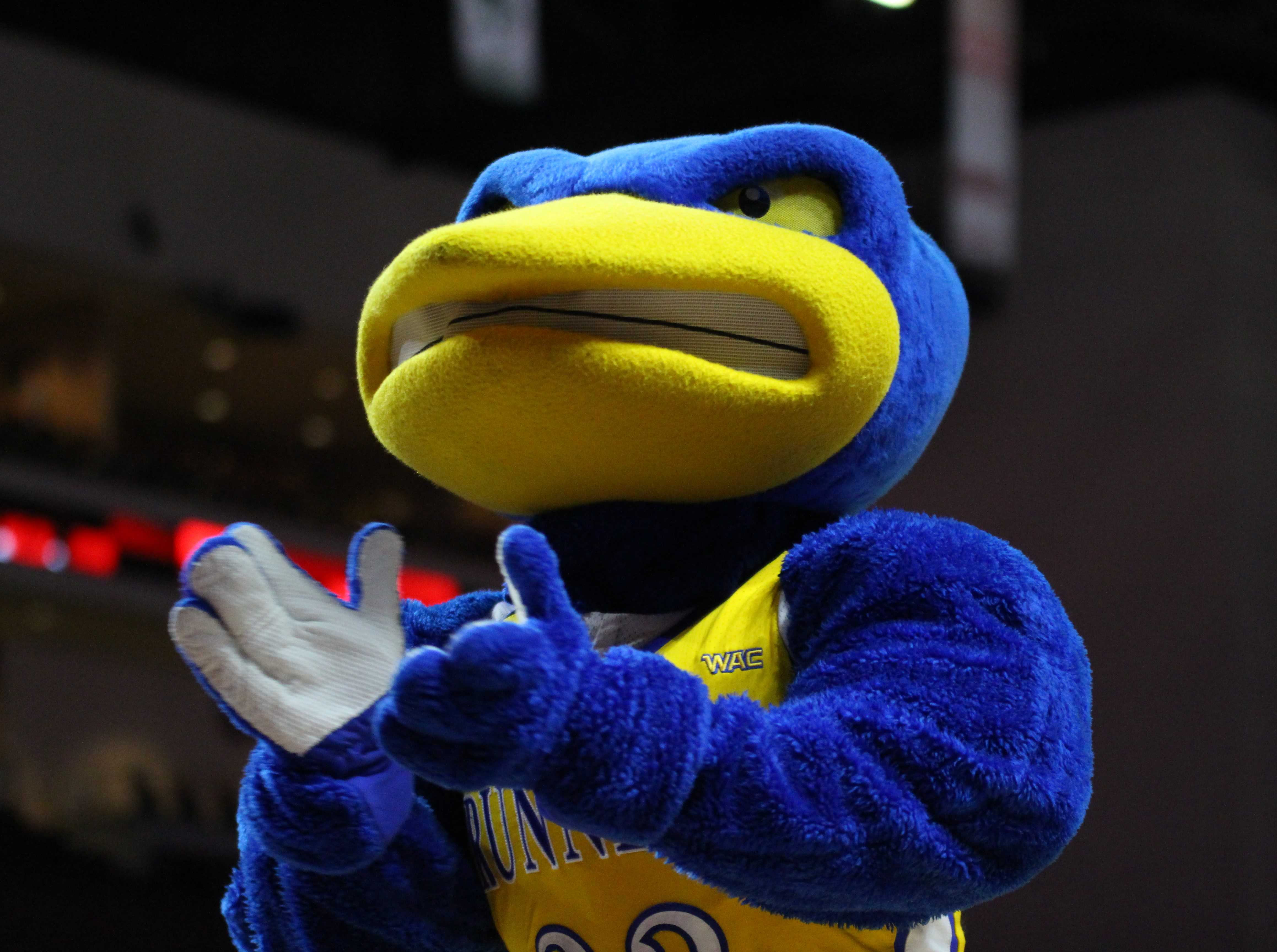 Rowdy the Roadrunner cheers on the crowd in the Western Athletic Conference Tournament final on Saturday, March 10 at the Orleans Arena in Las Vegas.