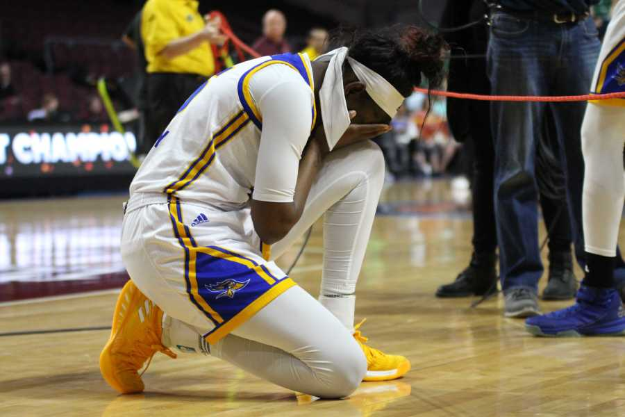 Junior forward Malayasia McHenry is overcome with emotion after CSUBs loss to Seattle University in the Western Athletic Conference final on Saturday, March 10 at the Orleans Arena in Las Vegas.