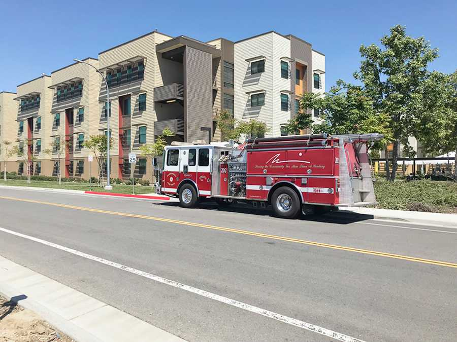 Bakersfield fire truck parked outside of Juniper Hall at East Housing