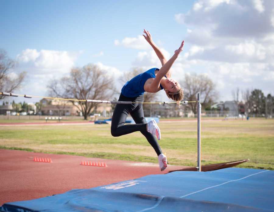 Antonia Beason, freshman high jumper at CSU Bakersfield, practices on the track near the Icardo Center on Monday, Feb. 19.