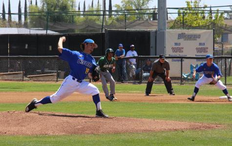 Pitcher for CSUB, freshman Elijah Parks, kicks off the first inning on Sunday, April 22, at Hardt Field against Sacramento State.  Photo by Aaron Mills/ The Runner