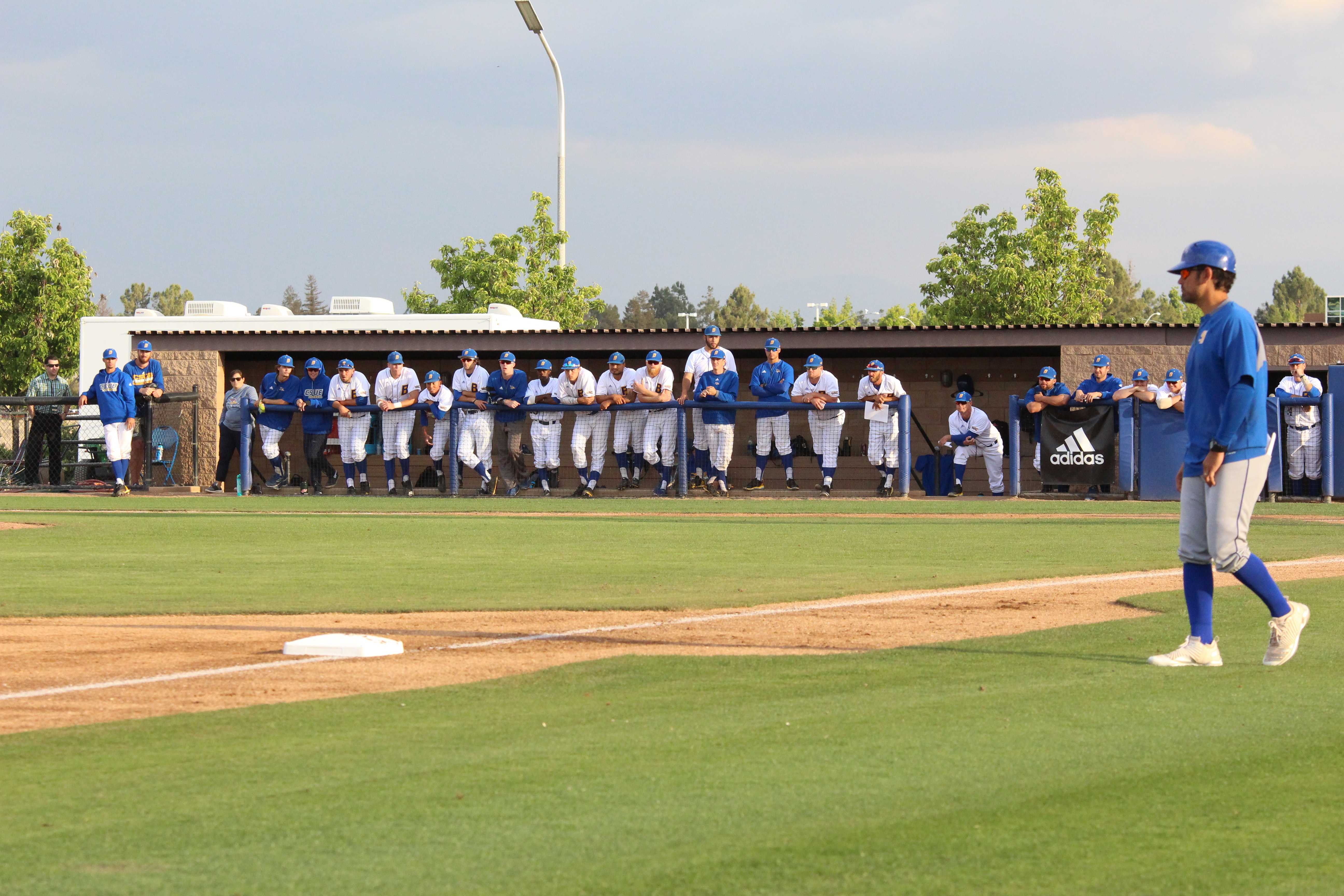 The CSUB baseball team looks on during the Tuesday, May 1 game against UC Santa Barbara at Hardt Field.  Photos by Ricky Gonzales/ The Runner