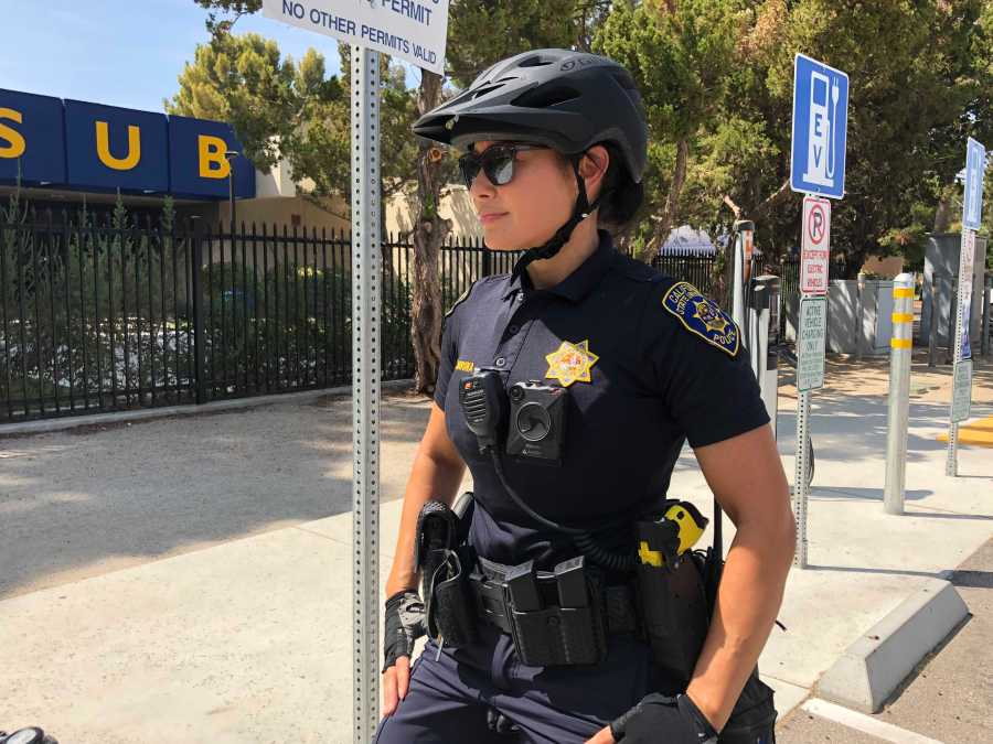 Officer Veronica Corona wears her body-worn camera while patrolling Parking Lot M on Aug. 20, 2018. Photo by Dylan Bryant/ The Runner