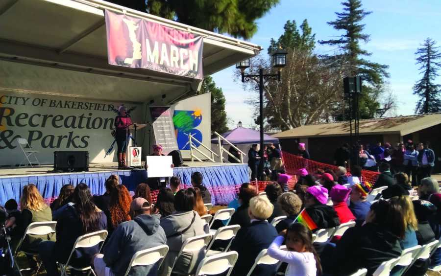 "Local LGBTQ+ activist River Navarro offers their speech to the listening crowd at the 2019 Kern County Women's March in Bakersfield on Saturday, Jan. 19. The theme of this year's march was ""Truth to Power."""