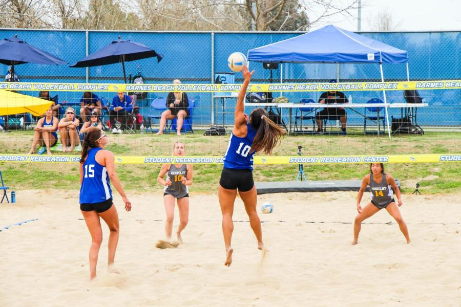 Senior Beach Volleyball players Brianna Mariner (10) and Mattison DeGarmo (15) in action in their match against Westcliff University on March 19, 2019.