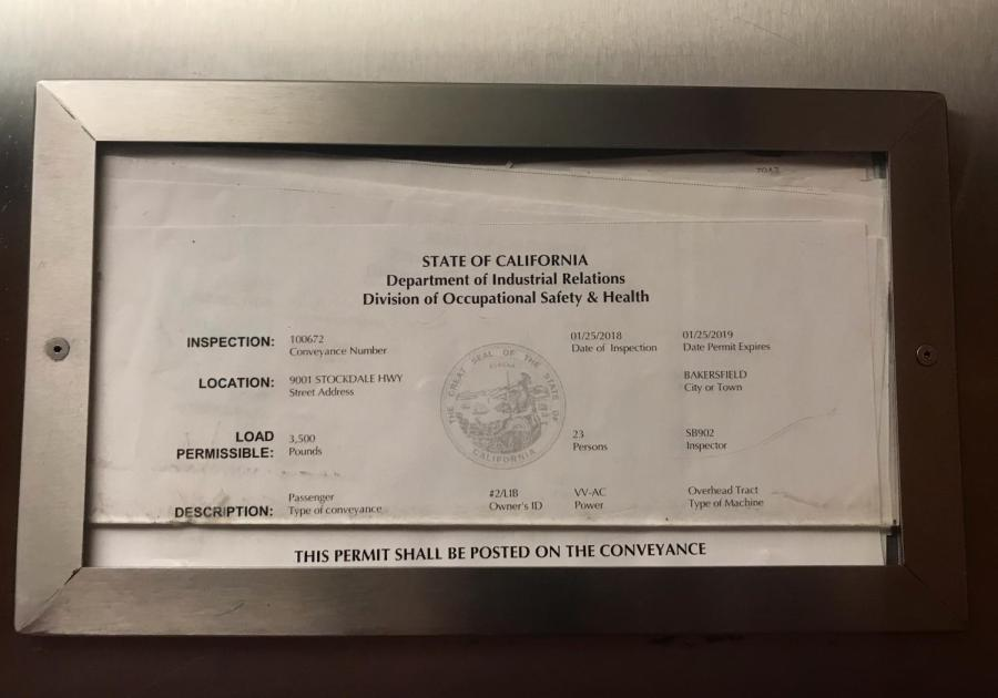 The permits on both elevators in the Walter W. Stiern Library display an expiration date of Jan. 25, 2019. Images were taken on April 4, 2019.