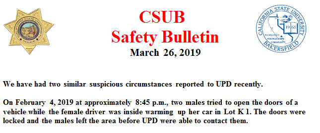 Safety Bulletin that UPD emailed students on March 26, 2019.