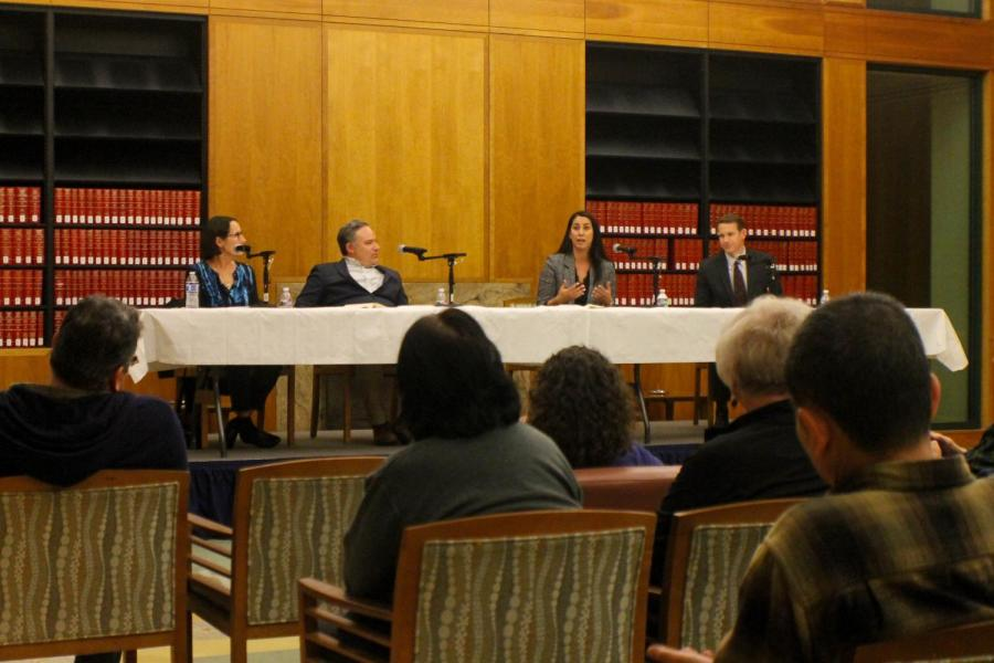 Panelists discuss local immigration issues to crowd on Feb. 13, 2019.