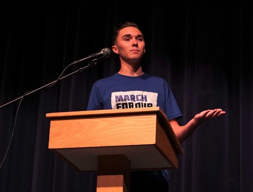 Hogg speaking during a March for Our lives event at a High School in Maine. Photo courtesy of March for Our Lives