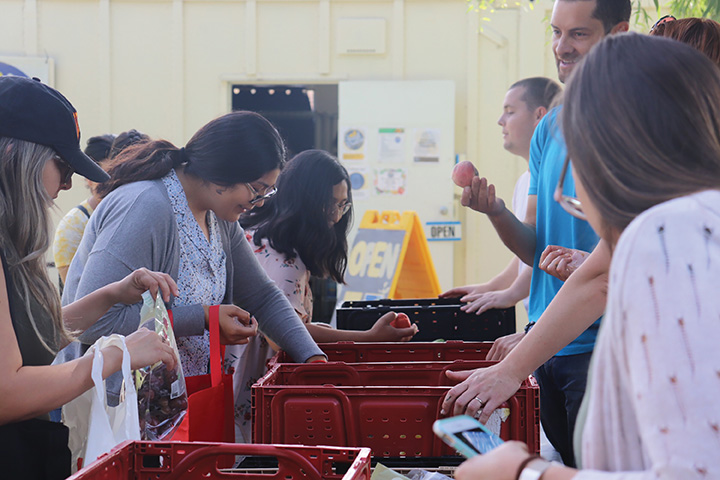 Several students participating in the Food Pantry's services. Photo by Ruuna Morisawa.