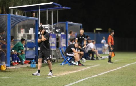 Men's soccer head coach, Richie Grant, during the match against St. Mary's.