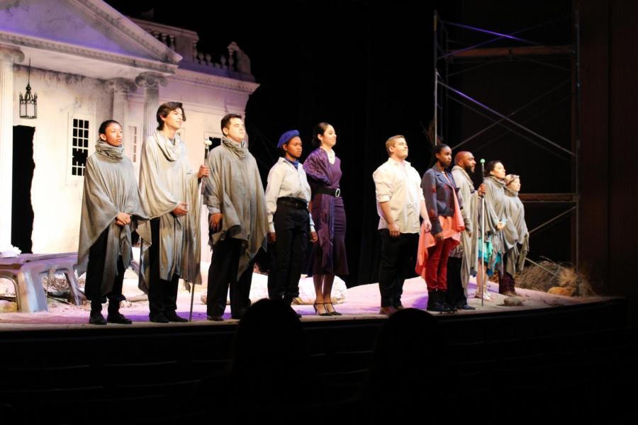 The cast of Antigone lines up for a final bow after the play's final scene in the Dore Theatre on Oct 26.