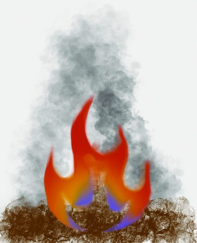 Illustration demonstrating the air pollution resulting from burning tumbleweeds.
