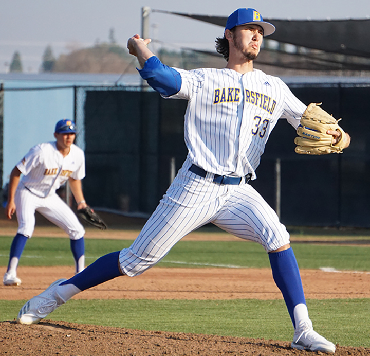 Senior pitcher Noah Cordova pitches during the Alumni Game on Saturday Feb. 1st at Hardt Field.