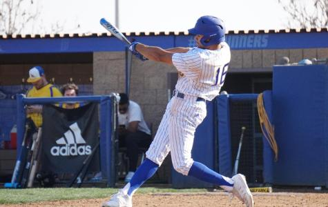 CSUB redshirt freshman Jacen Roberson takes a swing at the Alumni Game on Feb. 1 at Hardt Field.