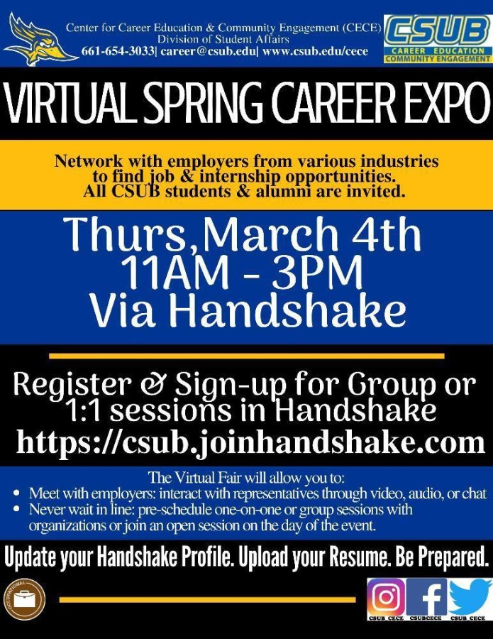 Flyer for Center for Career Education & Community Engagement's virtual Career Expo on Thursday March 4, 2021. Flyer provided by Center for Career Education & Community Engagement.
