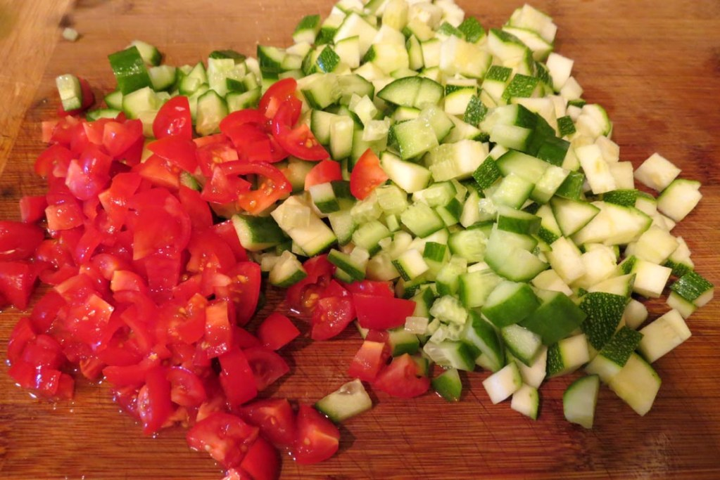 Chopped tomatoes, zuccini and cucambers