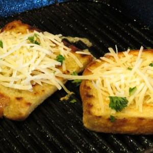 Parmesan bread on the grill