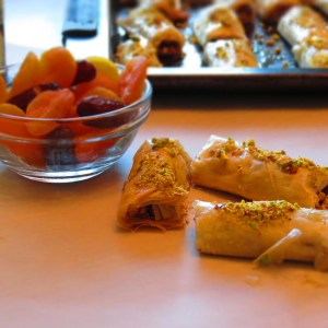 baklava served with apricots