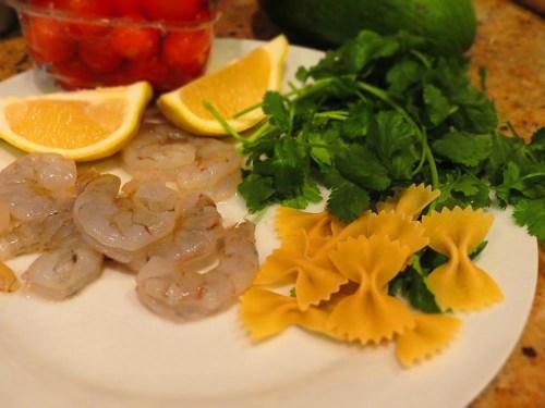 ingredients for avocado shrimp pasta