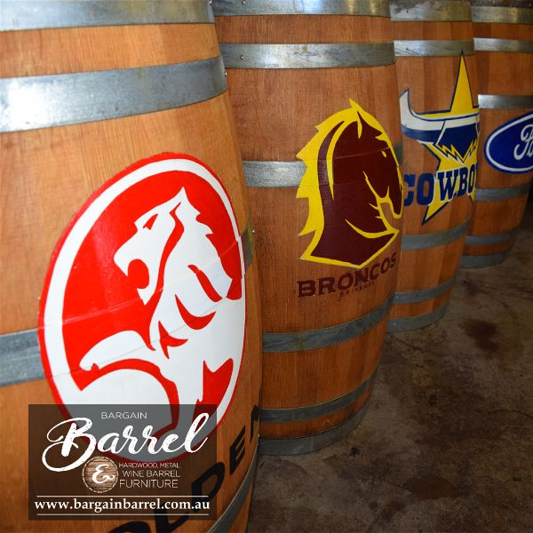 Barrel with brand logo on it