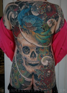 healed peacock/skull on ashley, 2012. i think this might still be my favorite backpiece to date. ashley was a badass and got this whole thing done in 6 sessions. there are a few coverups in there too.
