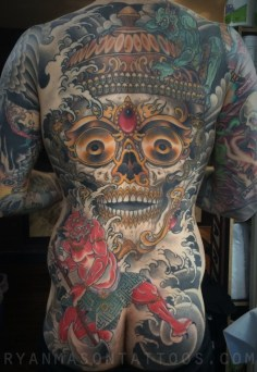 mostly healed kapala/oni on dabe, 2015. i loved working on this. anything with skulls and water, please. there's a few coverups in there somewhere.