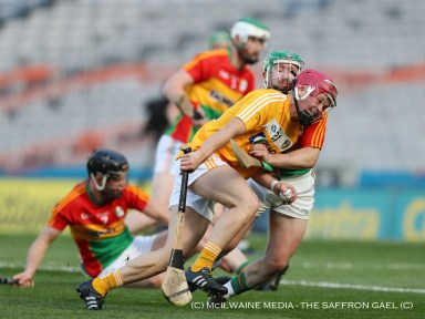 Substitute Daniel McKernan battles with the Carlow defence
