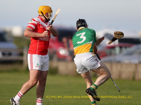 Cowboy McFadden sends a few more pounds towards Scullion Hurls as he he smahes the ash in last week's Junior Feis Shield win over Glenariffe in Waterfoot