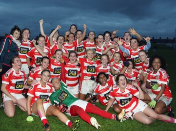 St Paul's celebrate their win over Moneyglass in the LGFA final at Corrigan Park