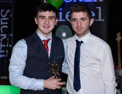 Rory McLarnon is presented with the Minor Player of the Year award.