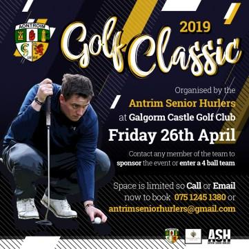 Antrim Senior Hurling Golf Classic 2019 Advert Sq