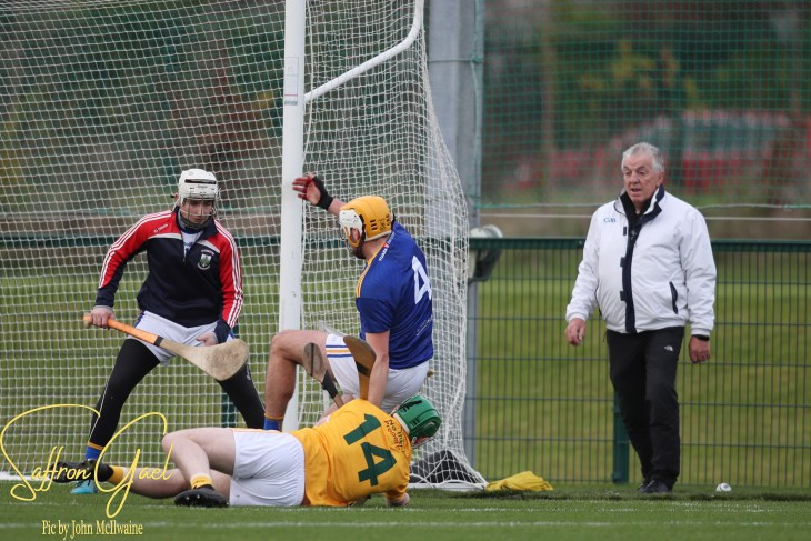 Antrim Captain, Conor McCann goes to the turf but scores his second major of the day in Antrim's comprehensive win over Wicklow