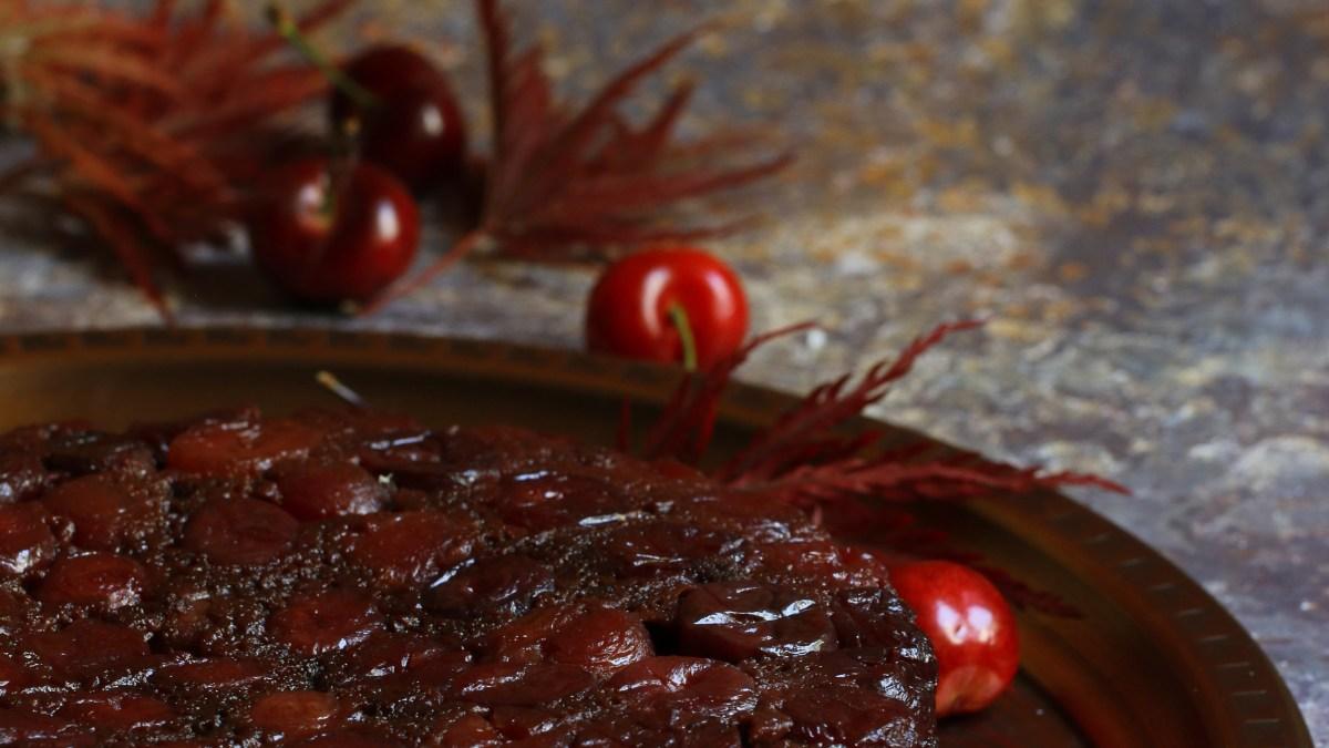 Bourbon Cherry Chocolate Upside-down cake