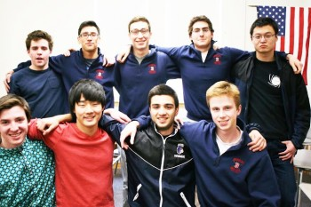 Left to right: Sam Russell, Kenny Qian, Franklin Yeo, Zak Russell, Ollie Costolloe, Ben Pollak, Nathan Katz, Guy Talmor and Kia Shahbazi (center). The swim and dive team capped an undefeated regular season with a 10th place finish at States. Photo by Kendall McGowan.