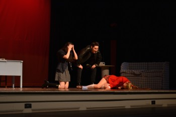 In a panic, sophomores Katie Suh and Sam Pollack realize they have just killed the most popular girl at school, Heather Chandler, played by Emily Gerson. A twisted yet hilarious show, Heathers managed to bring levity to the most serious of topics. Photo by Kendall McGowan.