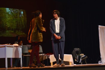 Former dates Clementine and Joel, played by sophomore Jack Reed and Junior Talia Putnoi once again meet up, after paying for their memories of each other to be erased. The show ended poignantly, with both characters stuck in a never-ending loop of relationships. Photo by Kendall McGowan.