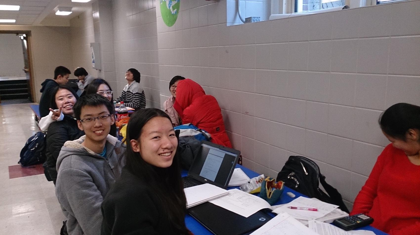 REEHAM CHOUDREY/ SAGAMORE STAFF   Math Team members wait for their event during a GBML competition in the cafeteria on Jan. 13 2016.