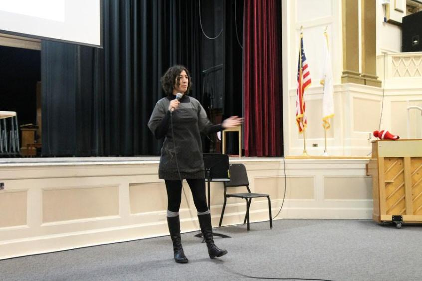 Ziba Cranmer is Executive Director of Demand Abolition and addressed the auditorium during F-block.