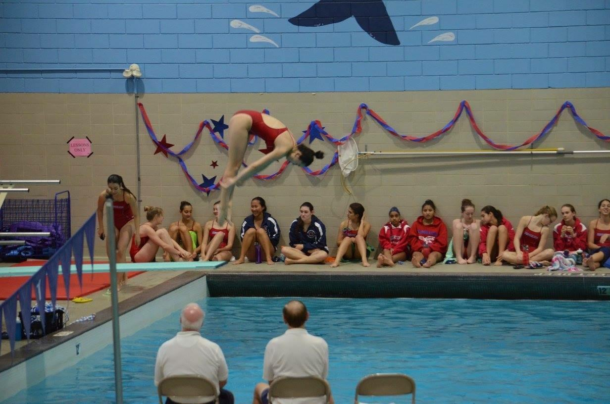 Senior Jess Leipman executes a dive on Senior Day. Many athletes broke records this past fall and winter season. Provided by Jess Leipman.