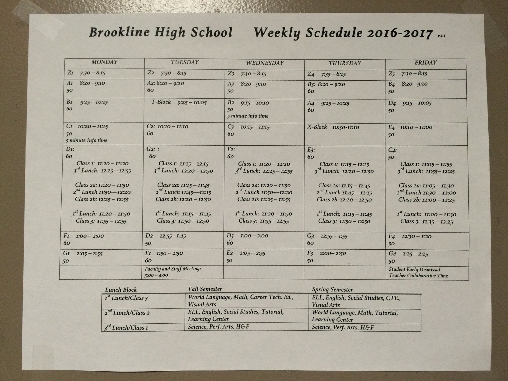 An example of the weekly schedule is displayed. Scheduling issues are common at the beginning of the year.