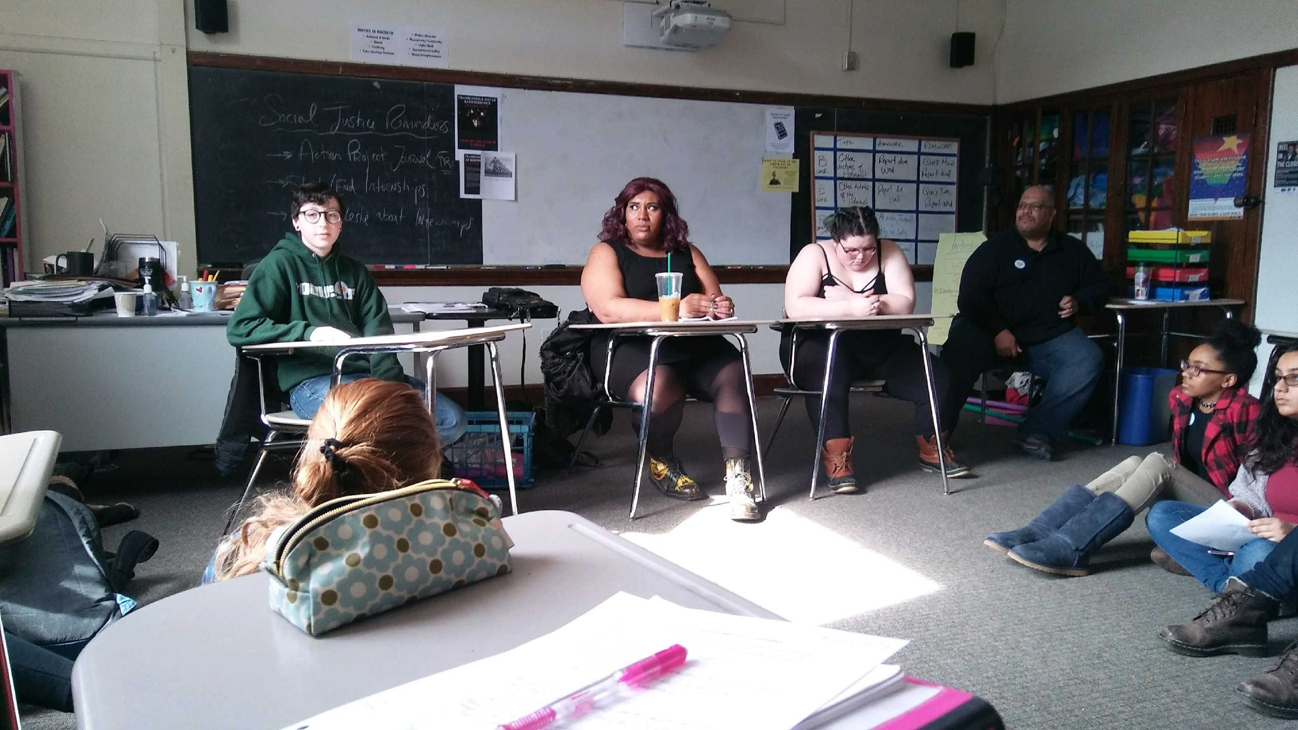G-Block speaker London addresses students in Room 309 about her experiences as a transgender woman.