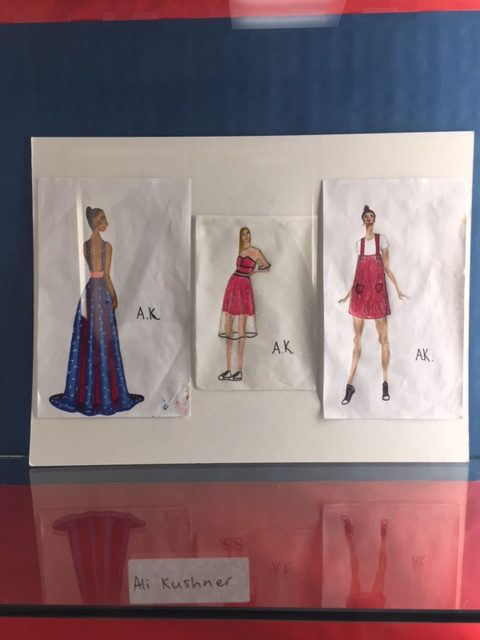 From+left+to+right%2C+a+vibrant+printed+gown%2C+a+strapless+fuchsia+dress+with+organza+overlay+and+a+brocade+romper%2C+sketched+by+sophomore+Alison+Kushner%2C+add+to+her+fashion+design+collection.