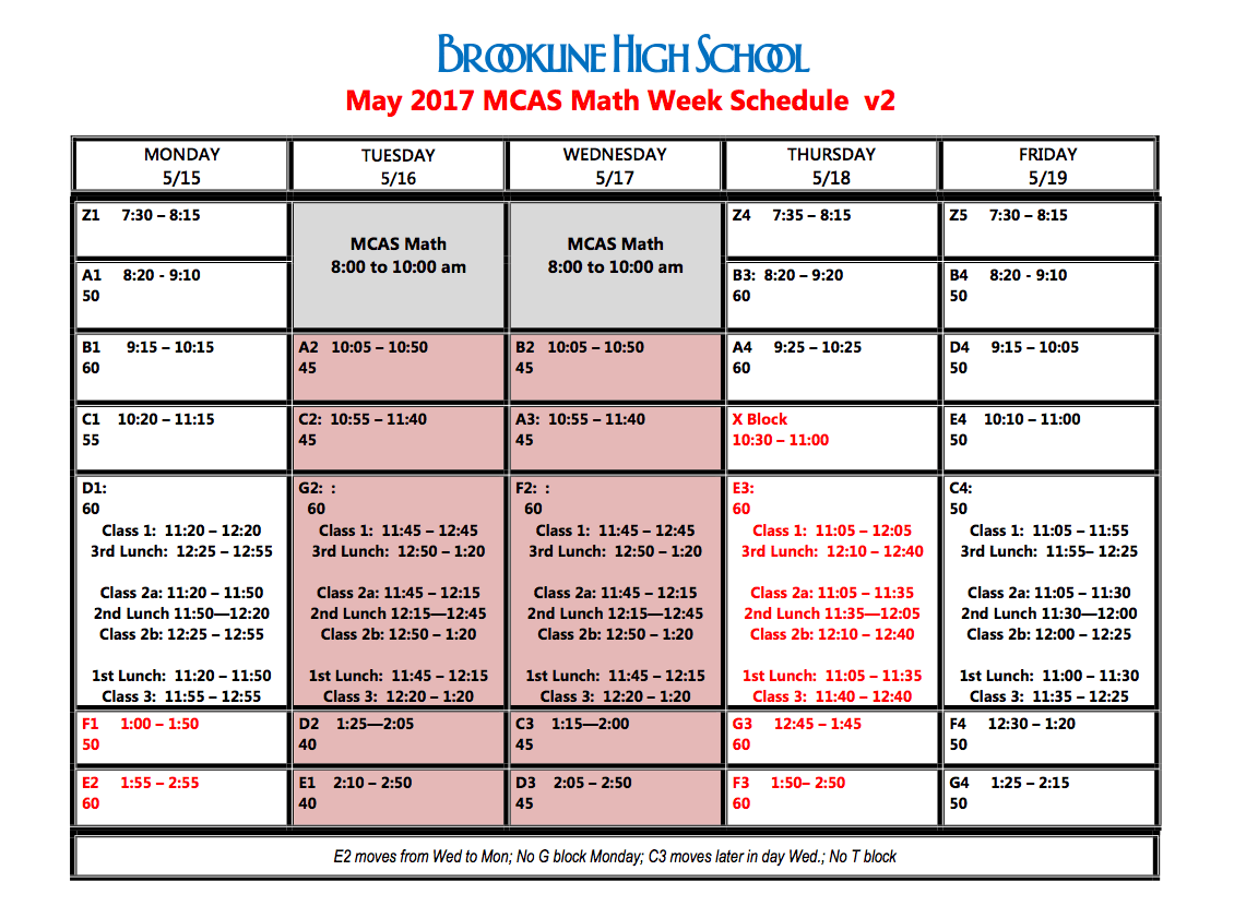 Here is the 2017 MCAS Schedule for the week of May 14.