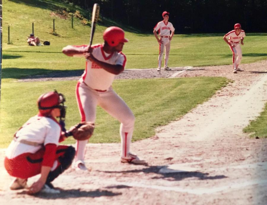 Malcolm+Cawthorne+%2788+awaits+the+pitch+as+he+bats+in+the+spring+baseball+season+of+1988.+Cawthorne+was+a+tri-season+athlete%2C+playing+year-round+for+baseball%2C+basketball+and+football.+