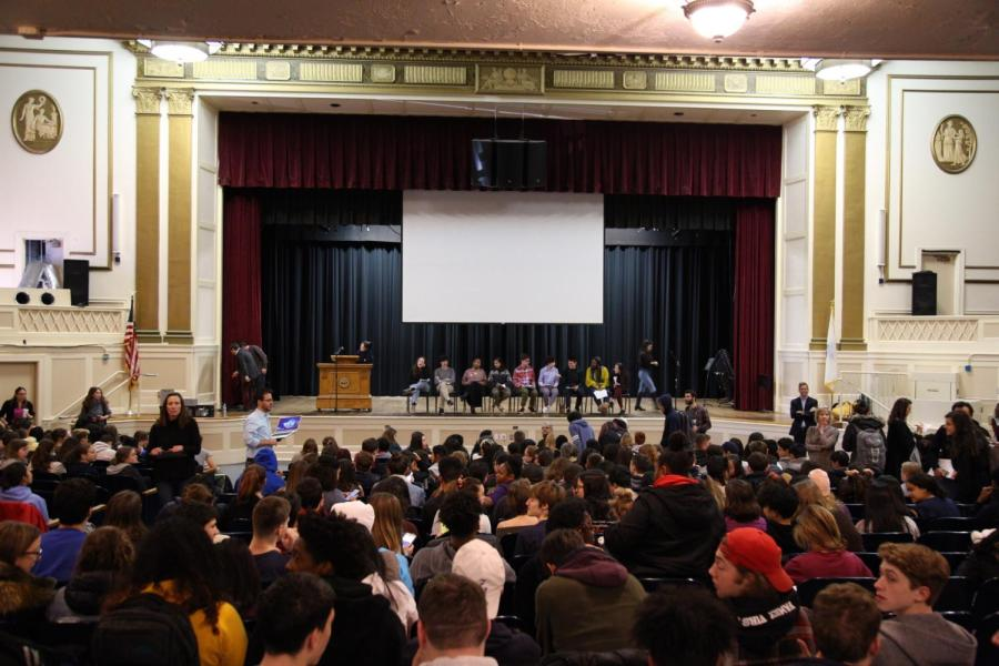 The+assembly+filled+with+students+and+staff+eagerly+awaiting+student+speaches+during+the+Telling+Your+Story+assembly+A-block.+Asking+for+Courage+held+the+entire+high+school%27s+attention+on+Tuesday%2C+Dec.+11.+