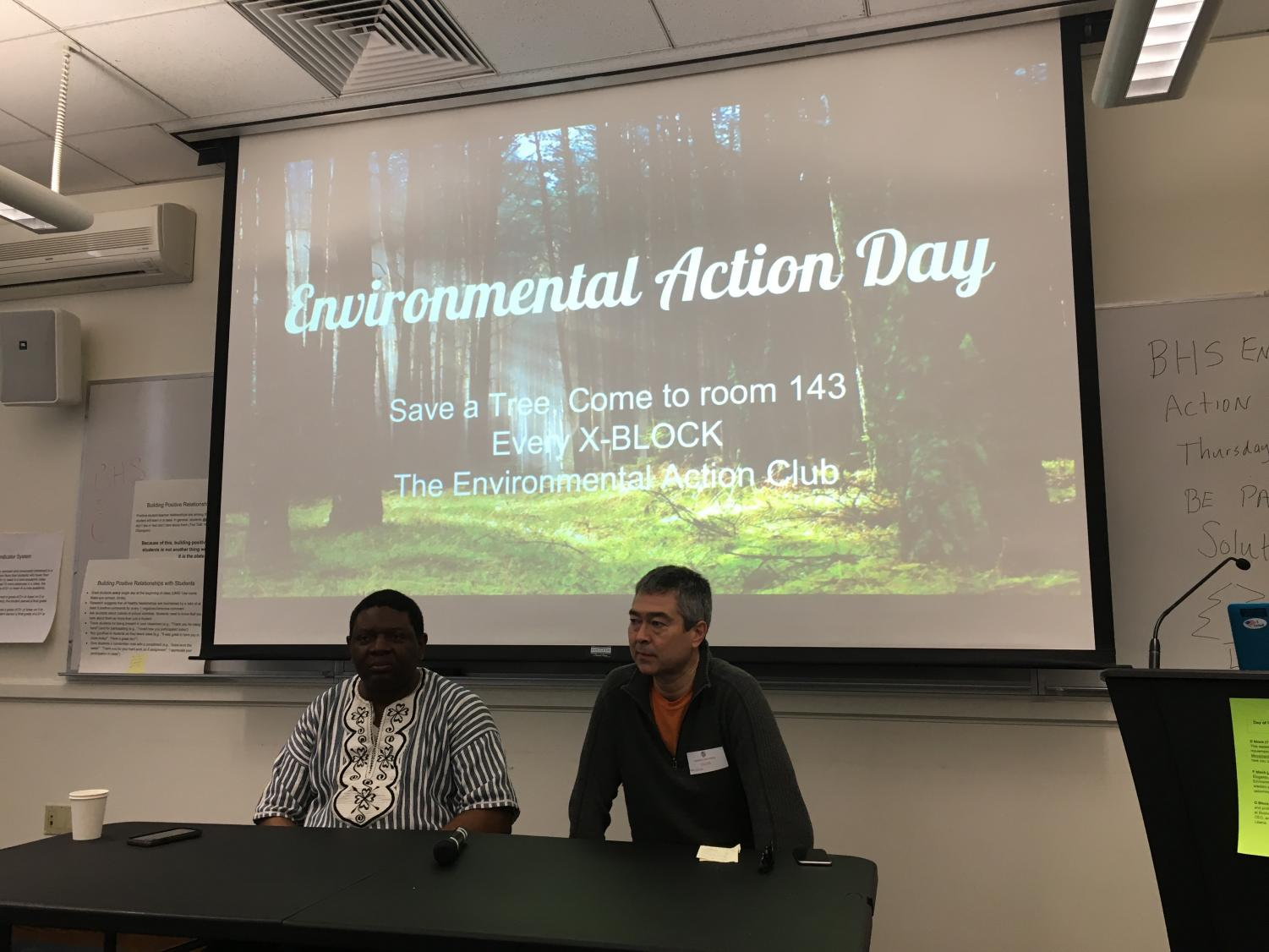 Alfred Brownell (left) and Nathan Phillips were two of the guest speakers at the Day of Action assembly on Monday, Feb. 4.