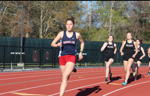Sophomore+Sofia+Nagle+sprints+ahead+at+the+recent+freshman-sophomore+track+and+field+meet+at+Franklin+High+School.+According+to+sophomore+Vivian+McMahon%2C+the+track+and+field+team+has+a+very+strong+freshman+and+sophomore+class.+